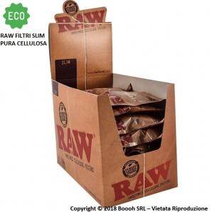 RAW FILTRI SLIM 6MM PURA CELLULOSA - CONFEZIONE DA 30 BUSTE DA 200 FILTRI 34,50€