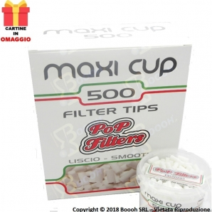 POP FILTERS MAXI CUP FILTRI IN BARATTOLO - BOX DA 6 BARATTOLI DA 500 FILTRI + 50 CARTINE CORTE WHITE 36,15 €