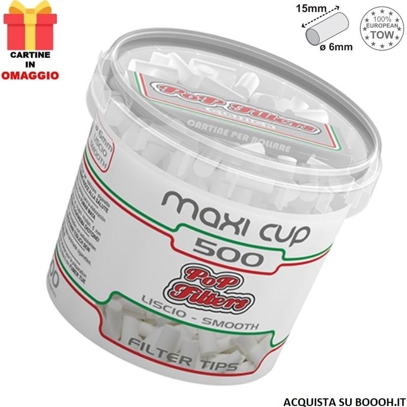 POP FILTERS MAXI CUP - 1 BARATTOLO DA 500 FILTRI + 50 CARTINE SILVER IN OMAGGIO 1,95€