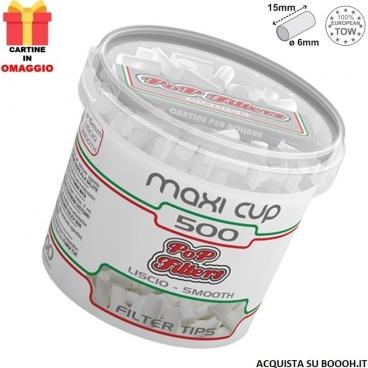 POP FILTERS MAXI CUP - 1 BARATTOLO DA 500 FILTRI + 50 CARTINE SILVER IN OMAGGIO