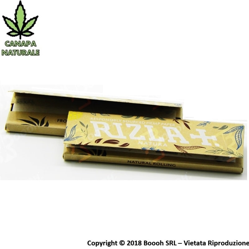 CARTINE IN CANAPA RIZLA NATURA CORTE SINGOLE - 1 LIBRETTO DA 50 CARTINE 0,41 €