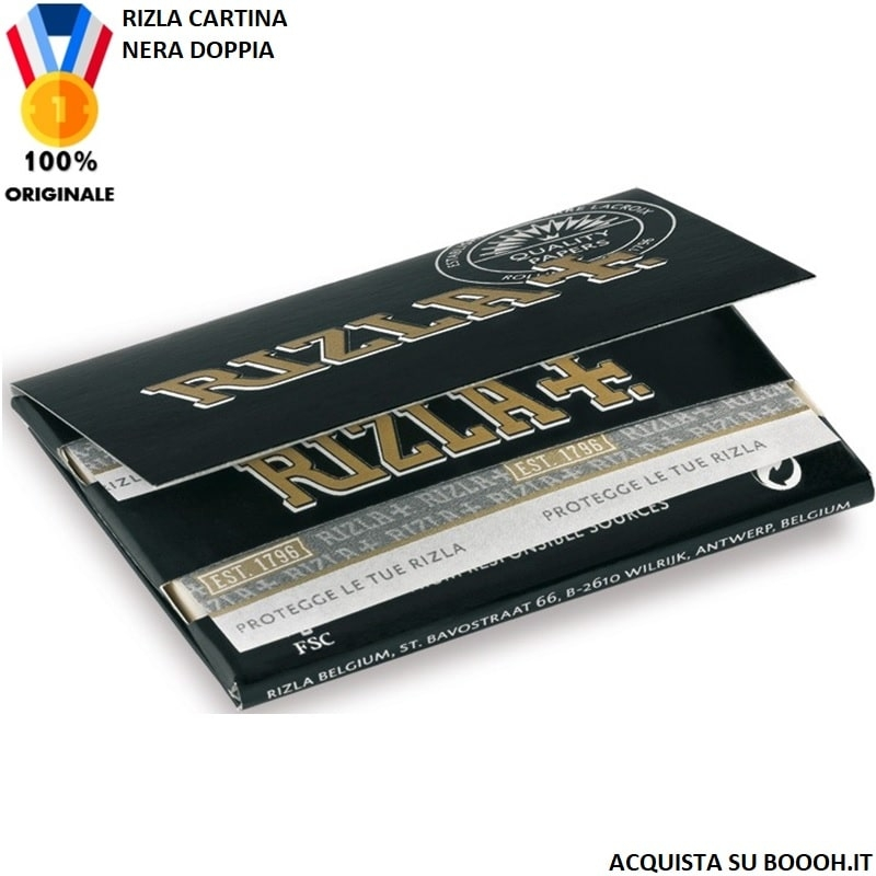 RIZLA CARTINA NERA DOPPIA BLACK DOUBLE - 1 LIBRETTO DA 100 CARTINE 0,69€