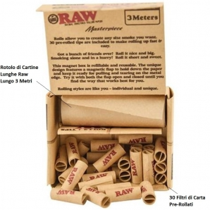 RAW MASTERPIECE CARTINE ROLLS LUNGHE KING SIZE + FILTRI PRE ROLLATI (PRE-ROLLED FILTER TIPS) - 1 SCATOLINA 4,32€
