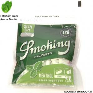 SMOKING FILTRI SLIM 6MM AL MENTOLO - CONFEZIONE 10 BUSTINE DA 120 FILTRINI ALLA MENTA 1,39€