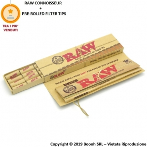 RAW CONNOISSEUR CARTINE CANAPA LUNGHE KS SLIM + FILTRI PRE-ROLLATI (PRE-ROLLED TIPS) - LIBRETTO SINGOLO 1,99 €