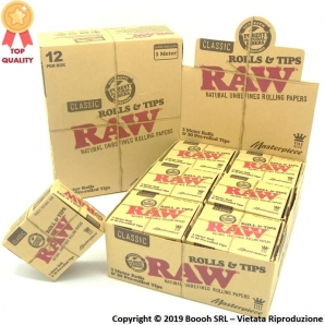 CARTINE RAW MASTERPIECE ROLLS LUNGHE KING SIZE + FILTRI PRE ROLLATI (PRE-ROLLED FILTER TIPS) - CONFEZIONE DA 12 SCATOLINE 43,...