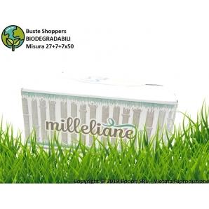 BUSTE SHOPPER BIODEGRADABILI ECOLOGICHE - MISURA 27+7+7X50 | CONFEZIONE DA 500 BORSE 39,99€