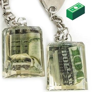 Porta chiave trasparente con 100 dollari