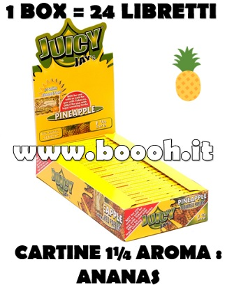 CARTINE CORTE JUICY JAY'S 1¼ AROMA ANANAS - PINEAPPLE - BOX INTERO IN VENDITA SU BOOOH.IT FOOTER