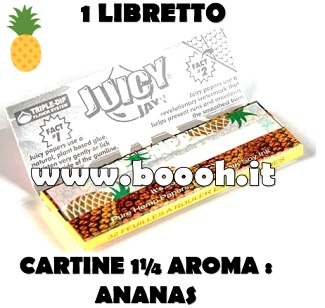 CARTINE CORTE JUICY JAY'S 1¼ AROMA ANANAS - PINEAPPLE - LIBRETTO SINGOLO IN VENDITA SU BOOOH.IT FOOTER