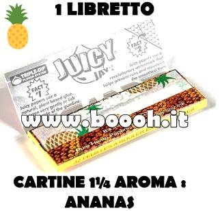CARTINE CORTE JUICY JAY'S 1¼ AROMA ANANAS - PINEAPPLE - LIBRETTO SINGOLO IN VENDITA SU BOOOH.IT FOOTER