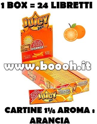 CARTINE CORTE JUICY JAY'S 1¼ AROMA ARANCIA - ORANGE CONFEZIONE DA 24 LIBRETTI IN VENDITA SU BOOOH.IT FOOTER