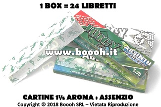 CARTINE CORTE JUICY JAY'S 1¼ AROMA ASSENZIO - BOX 24 LIBRETTI IN VENDITA SU BOOOH.IT FOOTER