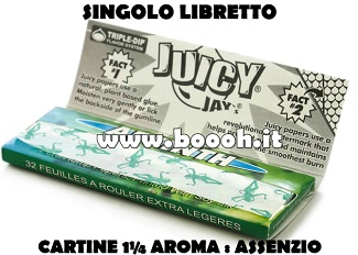 CARTINE CORTE JUICY JAY'S 1¼ AROMA ASSENZIO - LIBRETTO SINGOLO IN VENDITA SU BOOOH.IT FOOTER 2