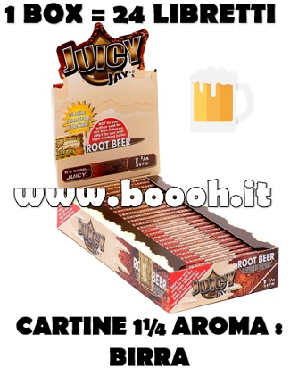CARTINE CORTE JUICY JAY'S 1¼ AROMA BIRRA - ROOT BEER - BOX INTERO DA 24 LIBRETTI  IN VENDITA SU BOOOH.IT FOOTER