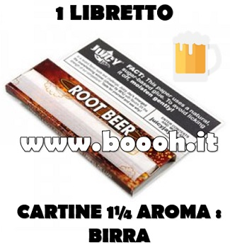 CARTINE CORTE JUICY JAY'S 1¼ AROMA BIRRA - ROOT BEER - LIBRETTO SINGOLO IN VENDITA SU BOOOH.IT FOOTER
