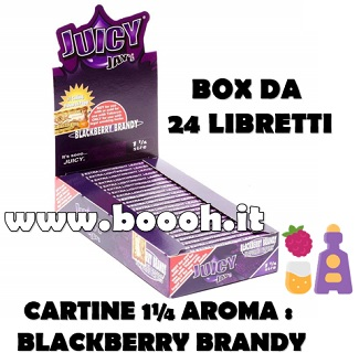 CARTINE CORTE JUICY JAY'S 1¼ AROMA BLACKBERRY BRANDY - BOX 24 LIBRETTI IN VENDITA SU BOOOH.IT FOOTOER
