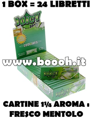 CARTINE CORTE JUICY JAY'S 1¼ AROMA COOL MENTHOL - BOX 24 LIBRETTI in vendita su Boooh.it FOOTER
