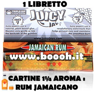 CARTINE CORTE JUICY JAY'S 1¼ AROMA JAMAICAN RUM - LIBRETTO SINGOLO IN VENDITA SU BOOOH.IT FOOTER