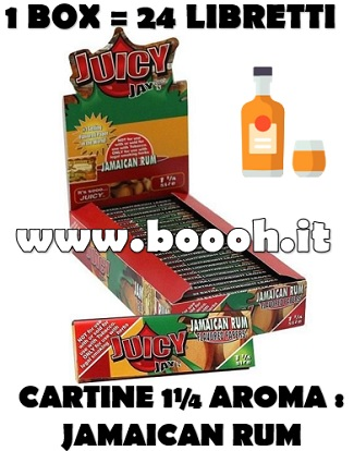 CARTINE CORTE JUICY JAY'S 1¼ AROMA JAMAICAN RUM BOX DA 24 LIBRETTI IN VENDITA SU BOOOH.IT FOOTER