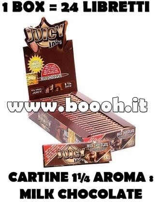 CARTINE CORTE JUICY JAY'S SINGOLE 1¼ AROMA CIOCCOLATO - MILK CHOCOLATE - CONFEZIONE 24 LIBRETTI IN VENDITA SU BOOOH.IT FOOTER