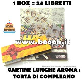 CARTINE LUNGHE JUICY JAY'S KING SIZE AROMA TORTA DI COMPLEANNO - BIRTHDAY CAKE - BOX 24 LIBRETTI IN VENDITA SU BOOOH.IT FOOTER