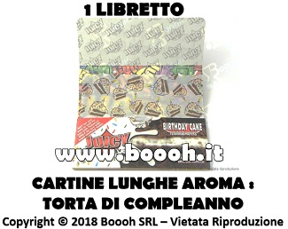 CARTINE LUNGHE JUICY JAY'S KS AROMA TORTA DI COMPLEANNO - BIRTHDAY CAKE - LIBRETTO SINGOLO IN VENDITA SU BOOOH.IT FOOTER