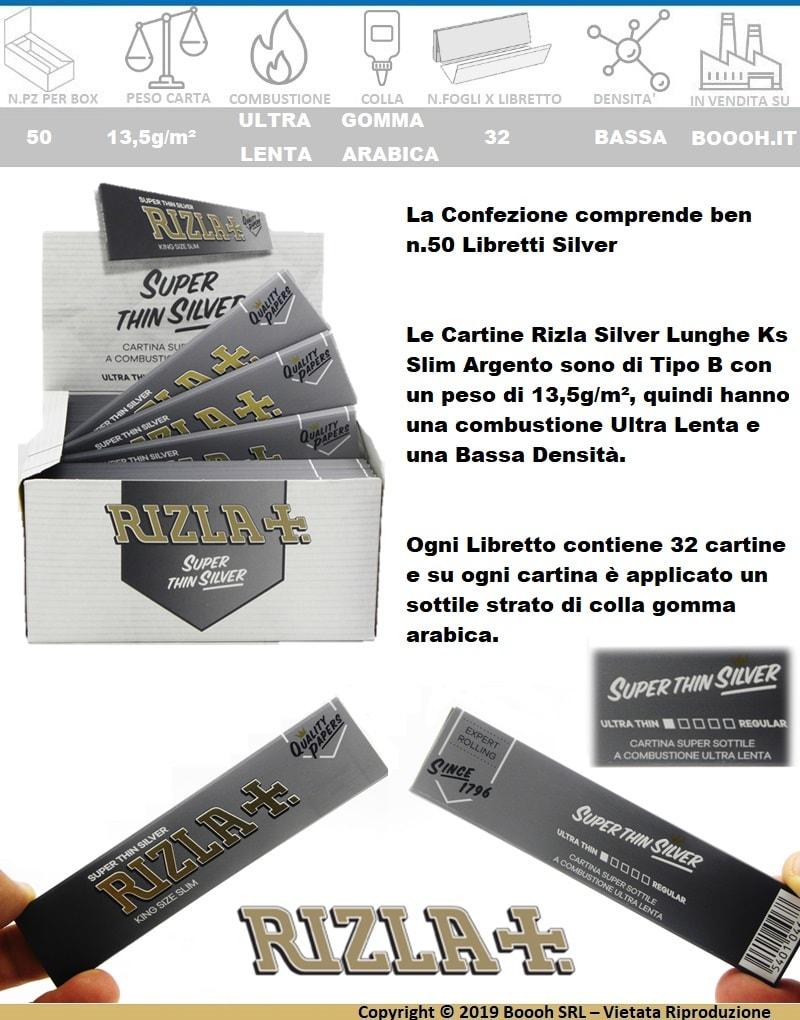 RIZLA-CARTINE-ARGENTO-LUNGHE-KING-SIZE-SLIM-SILVER-CONFEZIONE-50-LIBRETTI-BANNER-DESCRIZIONE