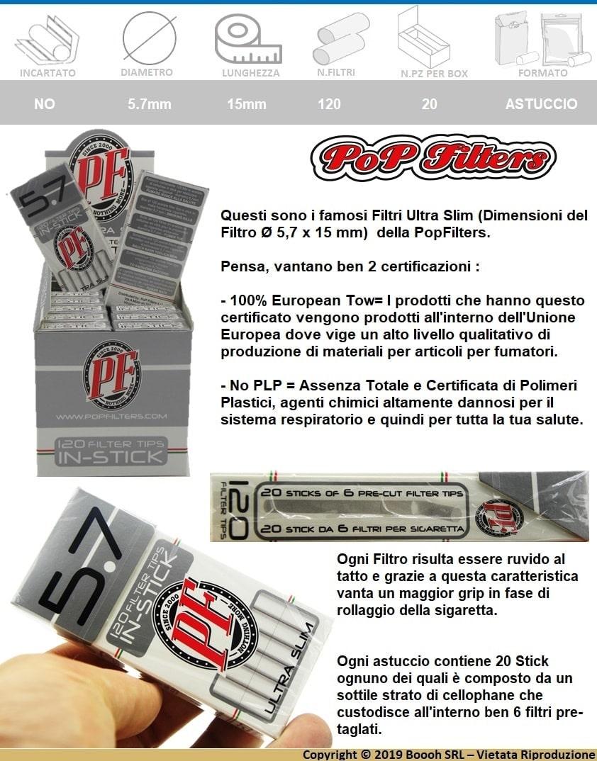 POP FILTERS FILTRI ULTRA SLIM 5,7mm RUVIDI NWA - BOX DA 20 ASTUCCI DA 120 FILTRINI - BANNER DESCRIZIONE