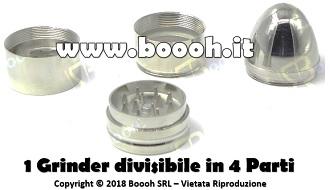 GRINDER TRITATABACCO METALLICO BULLET, FORMA DI PROIETTILE 4 PARTI in vendita su Boooh.it footer