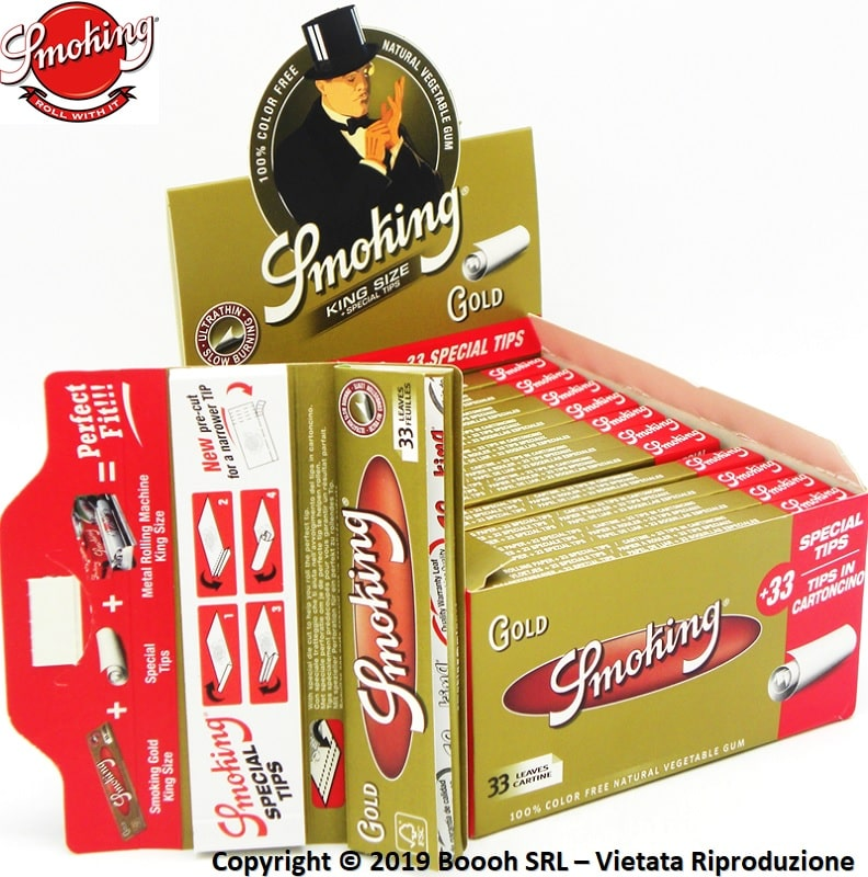 CARTINE SMOKING LUNGHE ORO + FILTRI IN CARTA - BOX DA 24 LIBRETTI E 24 BLOCCHETTI DI FILTER TIP - banner descrizione
