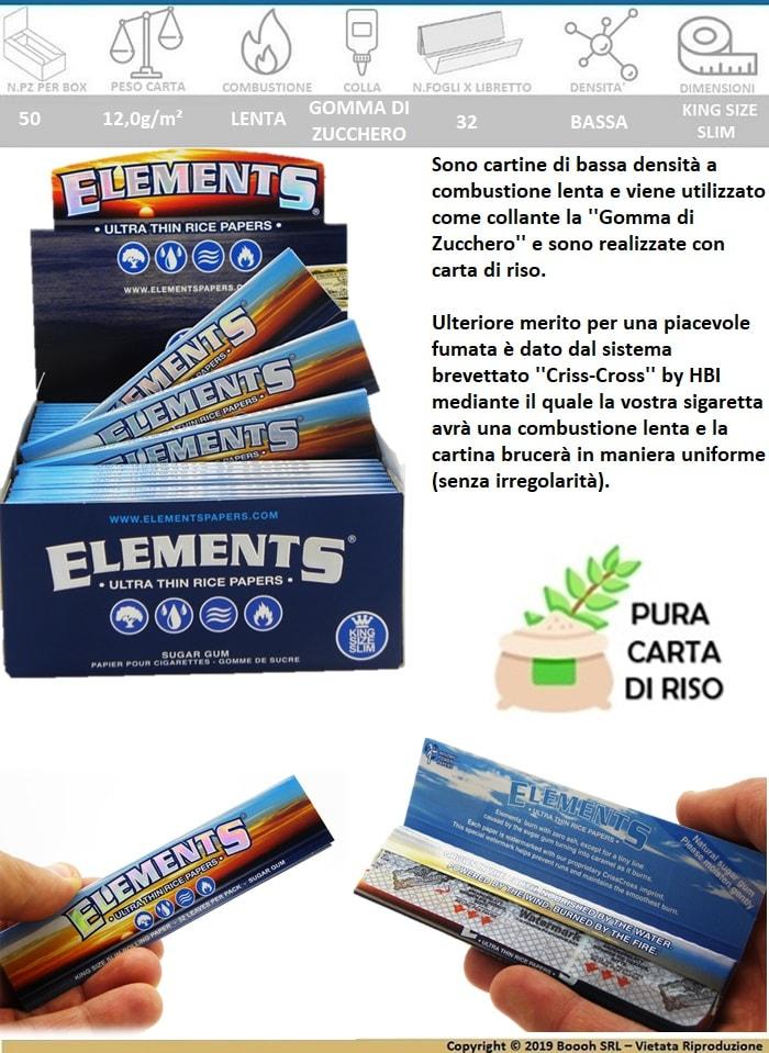 CARTINE ELEMENTS KS SLIM LUNGHE - BOX DA 50 LIBRETTI 3 - banner descrizione