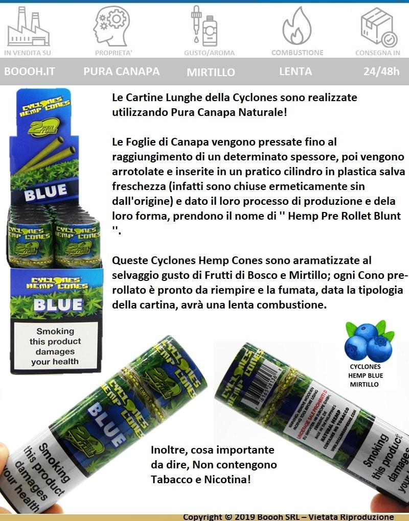 CYCLONES BLUE HEMP CONES PRE-ROLLED ROLLING PAPERS - GUSTO MIRTILLO