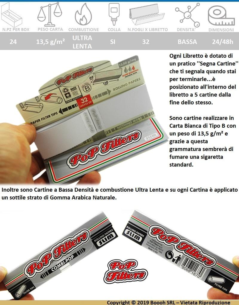 SINGOLO LIBRETTO COMBI-POP DI CARTINE LUNGHE KSS SILVER LINE + FILTRI IN CARTA  by POPFILTERS