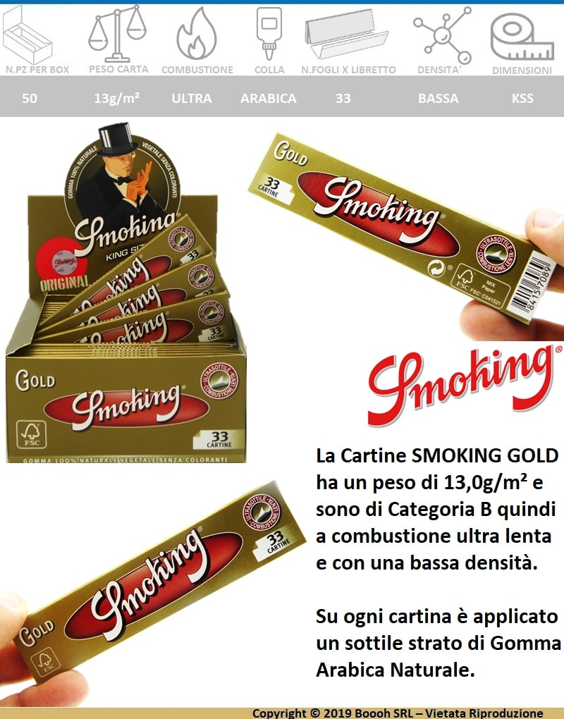 SMOKING CARTINE GOLD KING SIZE SLIM LUNGHE ORO - BANNER DESCRIZIONE