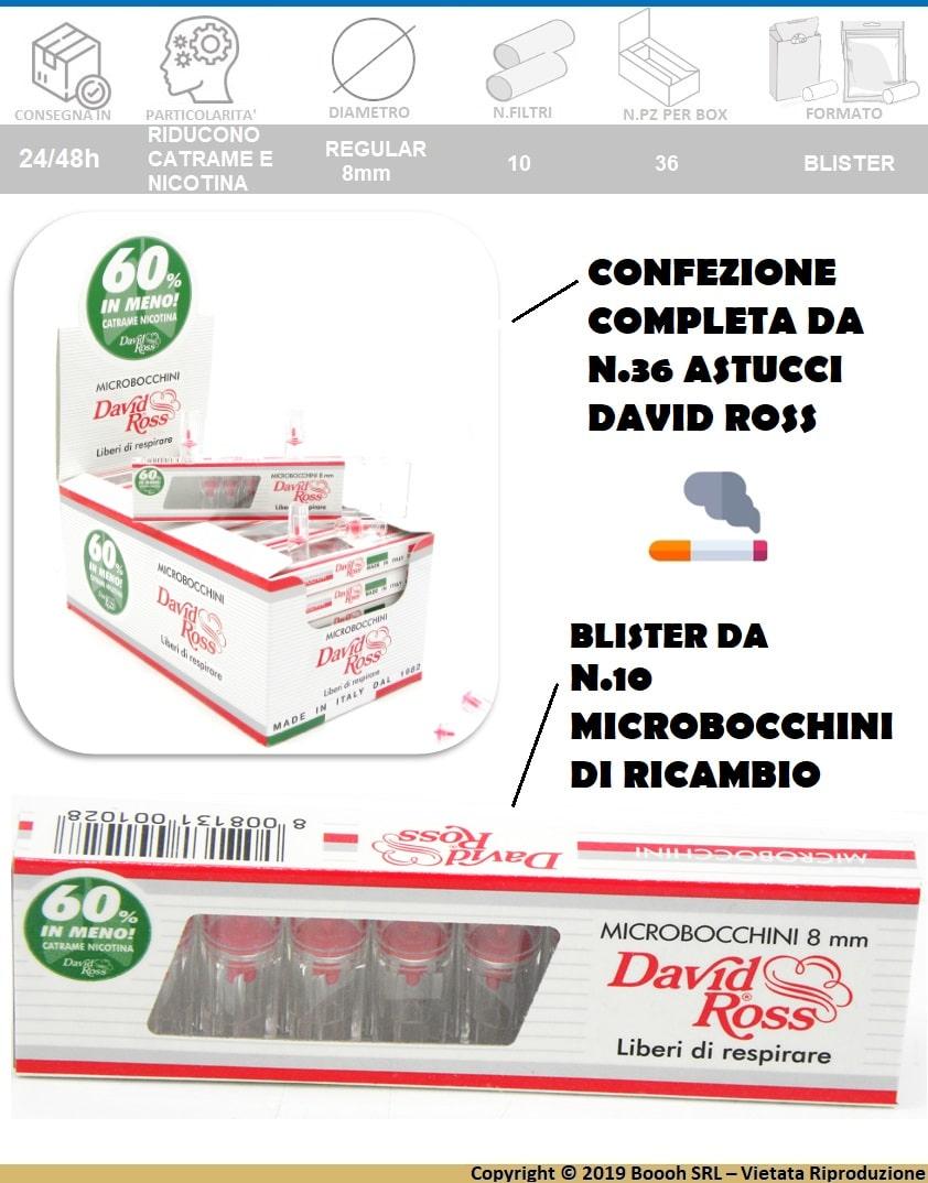 DAVID ROSS MICROBOCCHINI REGULAR DA 0,8mm - BOX DA 36 BLISTER DA 10 PEZZI - DESCRIZIONE BANNER