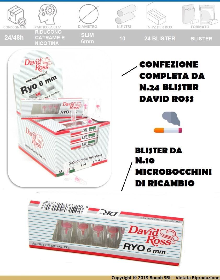 DAVID ROSS MICROBOCCHINI RYO 6mm - BOX DA 24 ASTUCCI - BANNER DESCRIZIONE