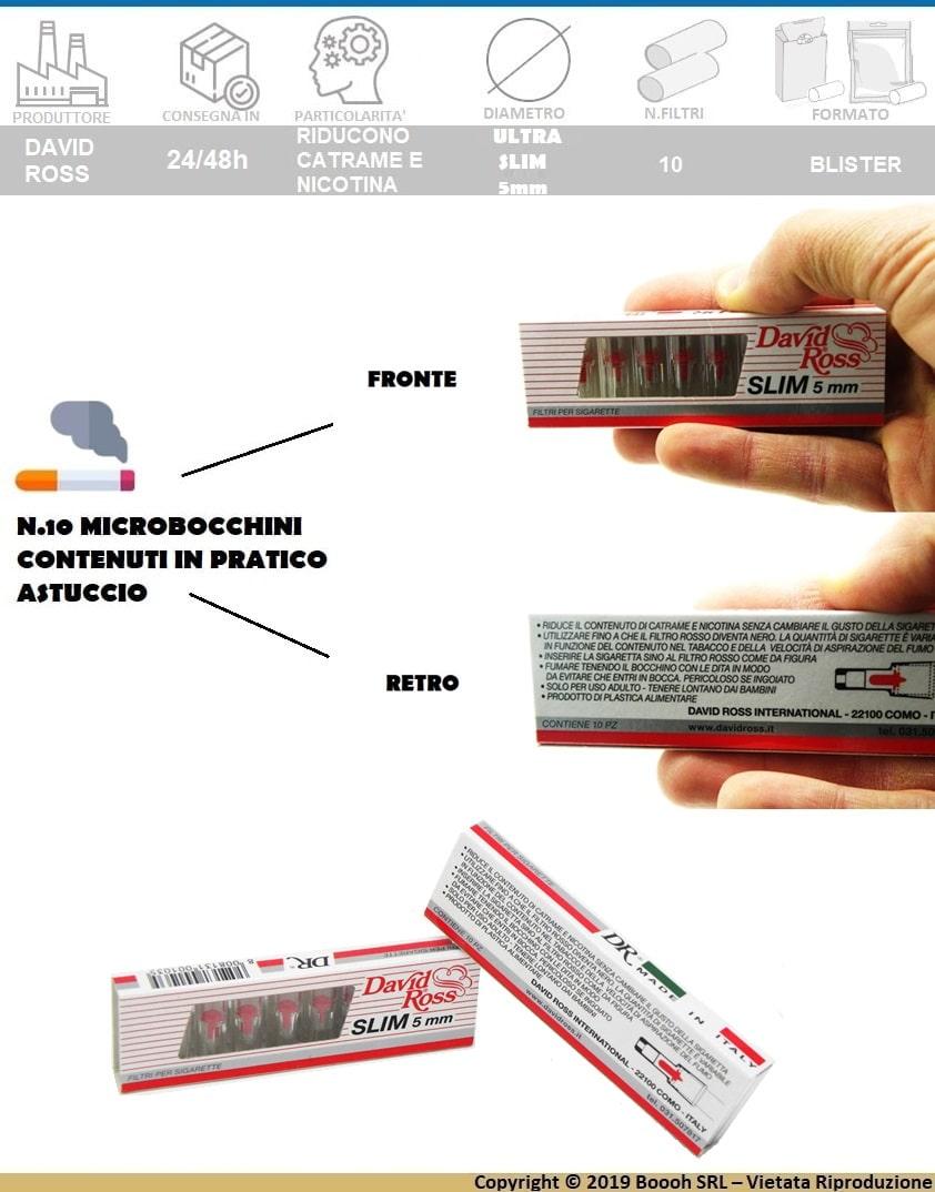 DAVID ROSS MICROBOCCHINI SLIM 5mm - 1 ASTUCCIO DA 10 PEZZI - BANNER DESCRIZIONE
