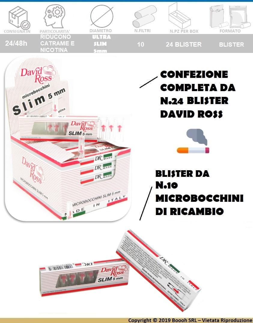 DAVID ROSS MICROBOCCHINI SLIM 5mm - BOX DA 24 ASTUCCI DA 10 FILTRI - BANNER DESCRIZIONE