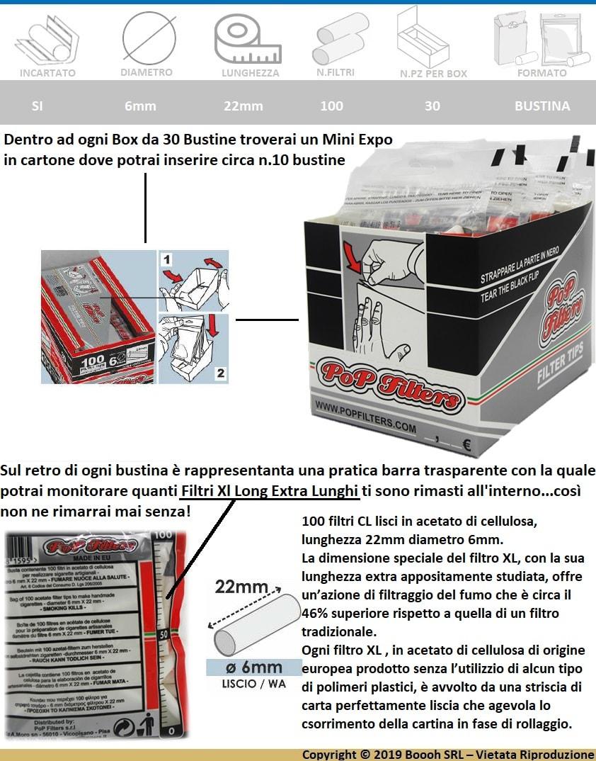 CONFEZIONE DA 30 BUSTE DI FILTRI EXTRA LUNGHI XL DA 22MM DELLA  POP FILTERS - BANNER DESCRIZIONE