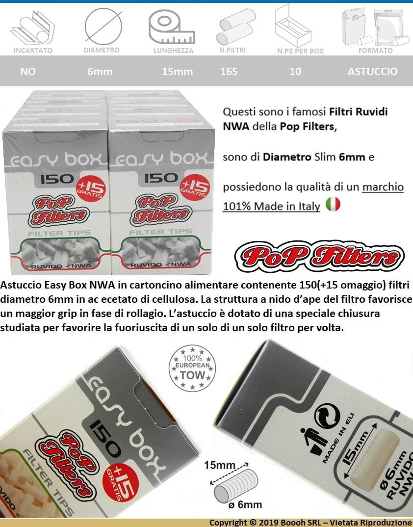 FILTRI SLIM POP FILTERS RUVIDI NWA - CONFEZIONE DA 10 ASTUCCI DA 150 FILTRI + 15 GRATIS