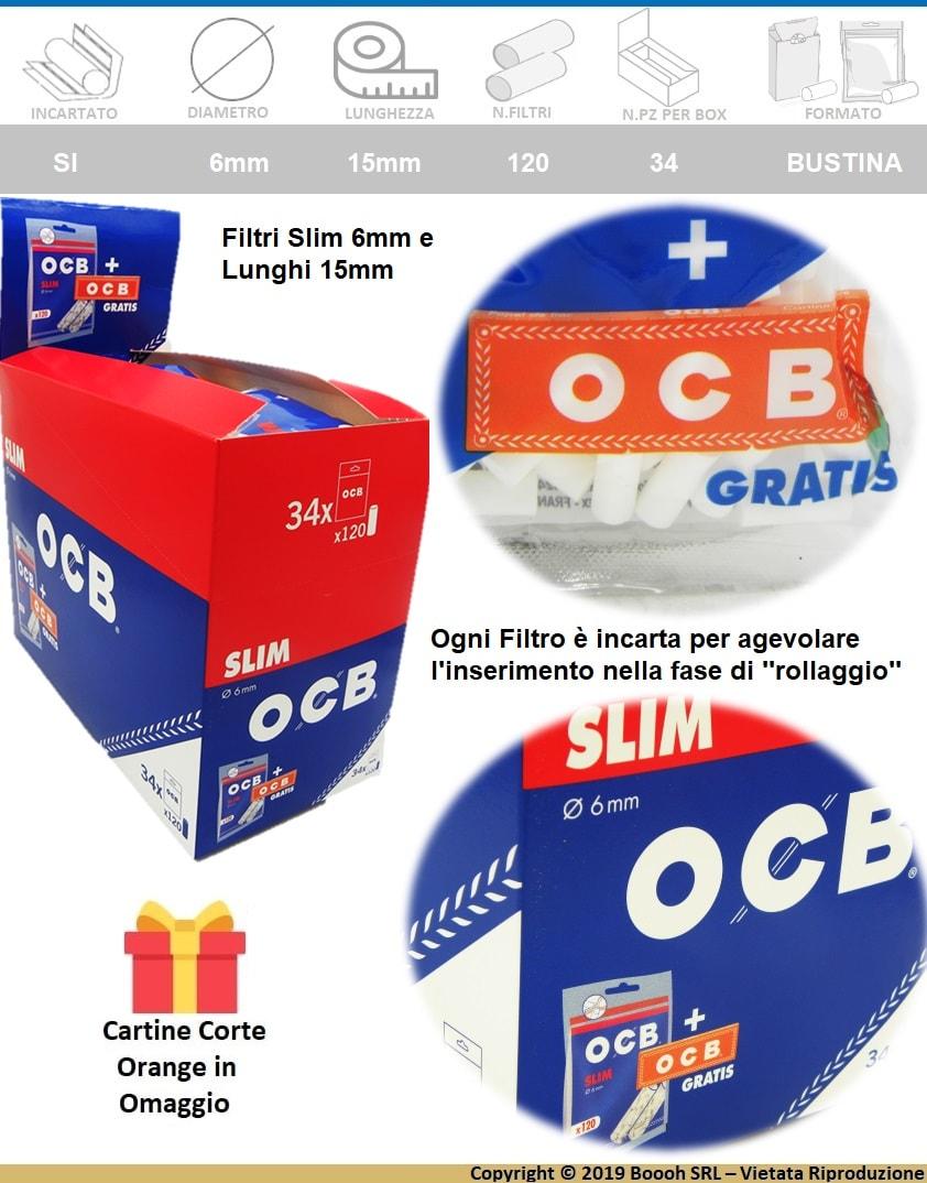 FILTRI SPUGNA OCB SLIM 6MM LISCI + CARTINA CORTA ORANGE IN OMAGGIO -  banner descrizione