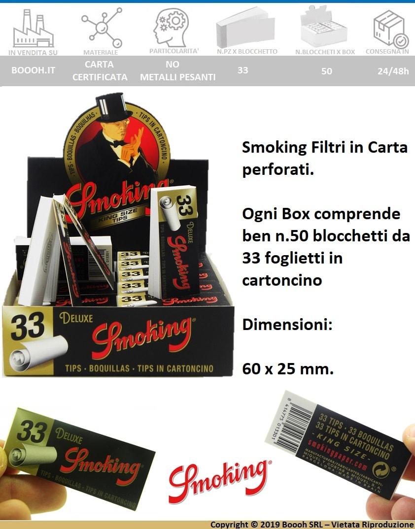 SMOKING FILTRI DI CARTA - CONFEZIONE DA 50 BLOCCHETTI DA 33 FILTRI - banner descrizine