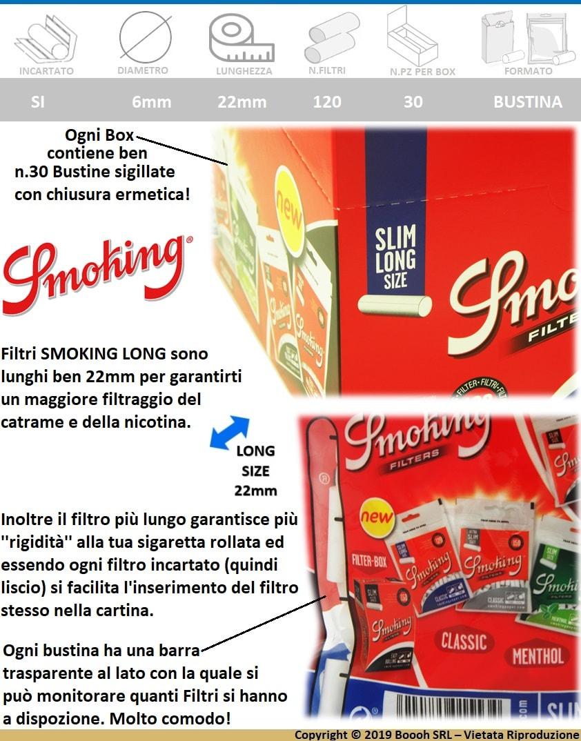 SMOKING FILTRI LONG SLIM 6MM LUNGHI - BUSTINE CON 120 FILTRI - BANNER DESCRIZIONE