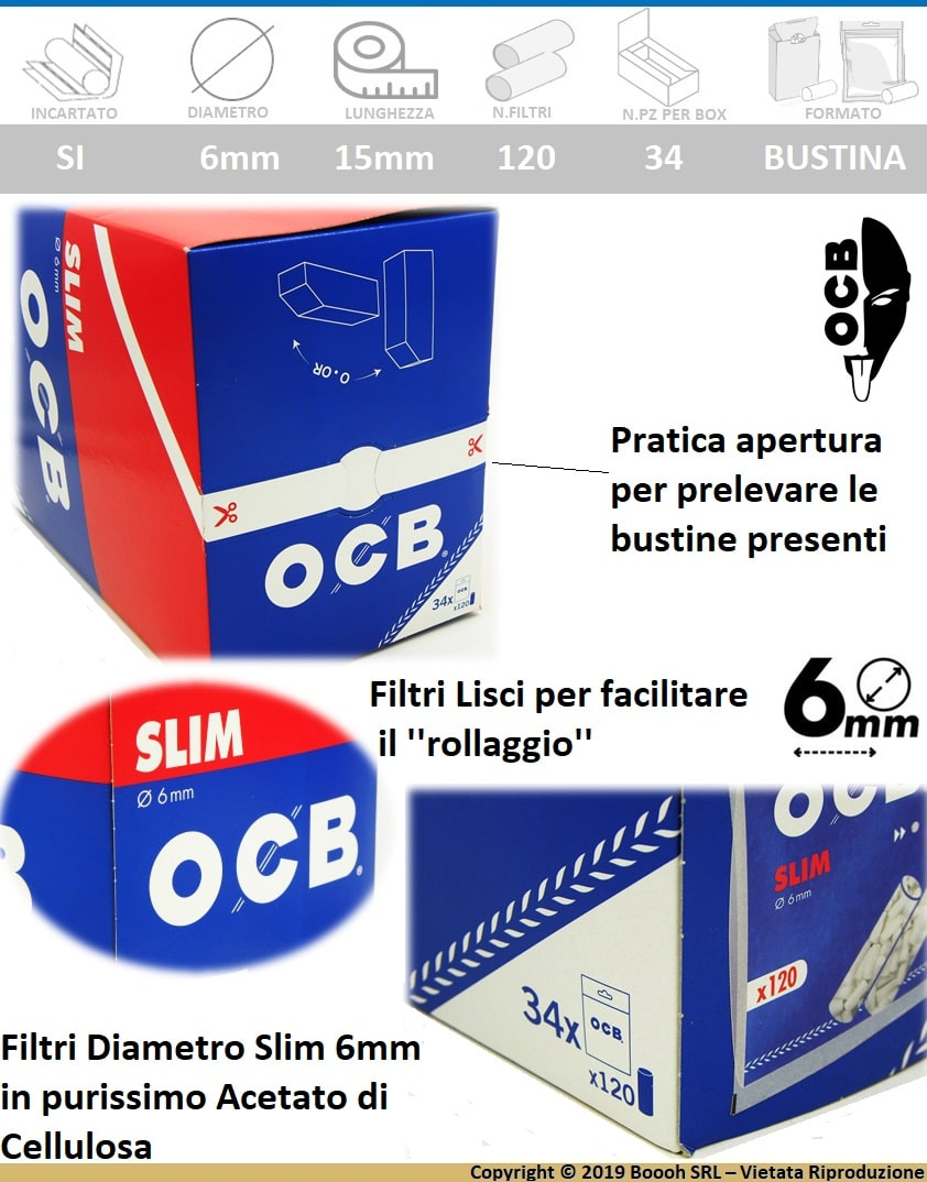 OCB FILTRI SLIM 6MM LISCI IN SPUGNA - BOX DA 34 BUSTINE DA 120 FILTRI - BANNER DESCRIZIONE