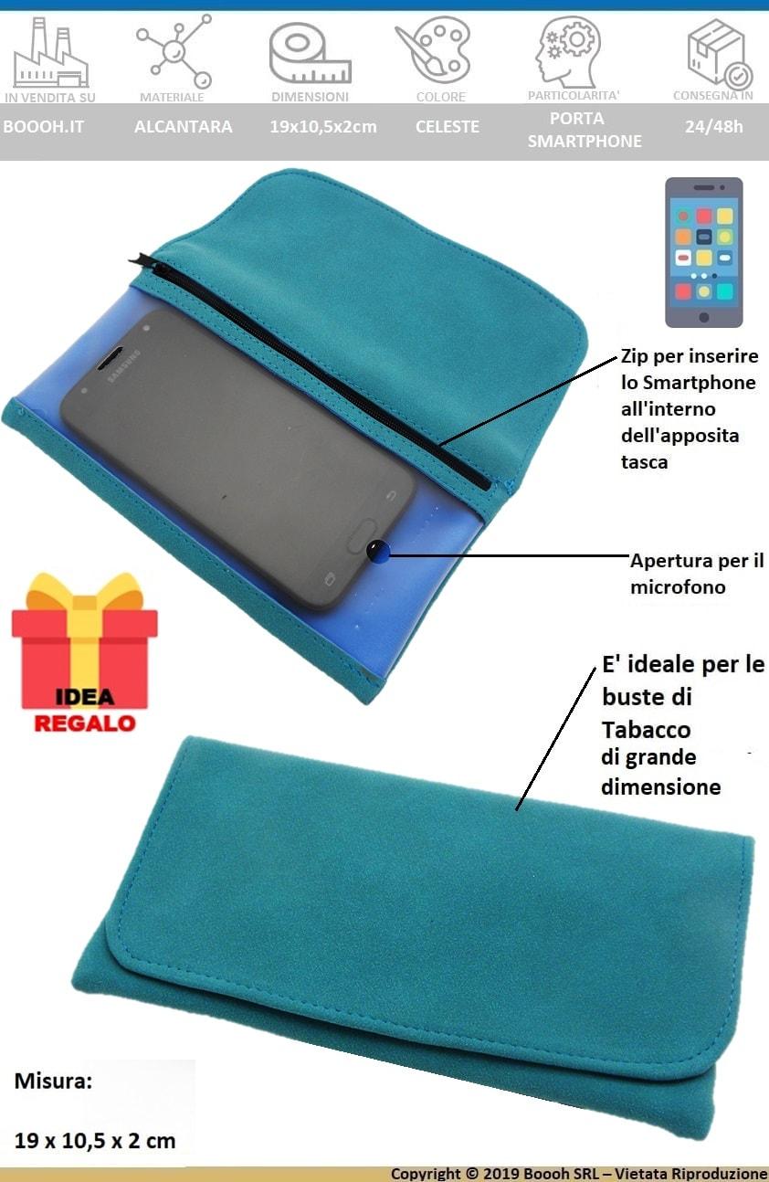 PORTATABACCO XL PLUS IN ALCANTARA CELESTE - FINESTRA TRASPARENTE PORTA SMARTPHONE + CARTINE OMAGGIO - BANNER DESCRIZIONE