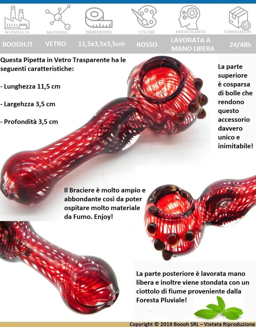 PIPA IN VETRO TRASPARENTE LAVORATA A MANO LIBERA E DECORAZIONI A SPIRALI ROSSO E FORO CENTRALE - IDEA REGALO FUMATORE - banner descrizione