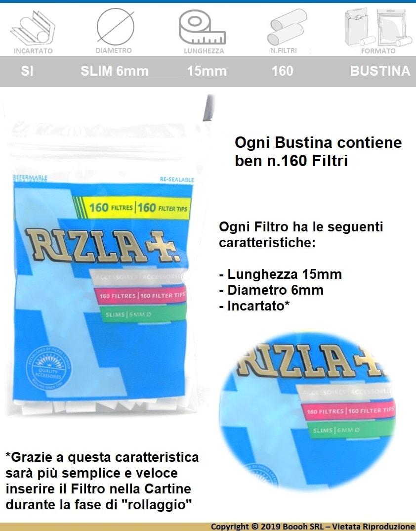RIZLA FILTRI SLIM 6MM IN BUSTA - 1 BUSTA DA 160 FILTRI -  banner descrizione