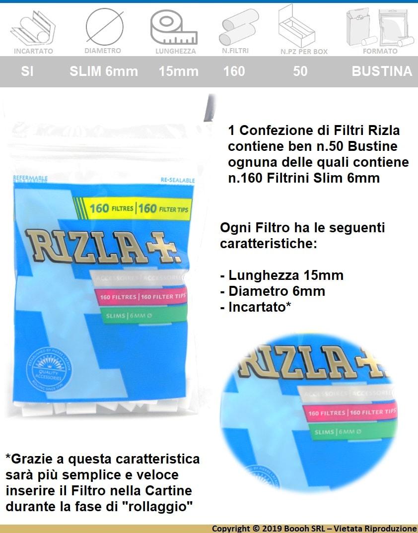 RIZLA FILTRI SLIM 6MM IN BUSTA - CONFEZIONE DA 50 BUSTINE DA 160 FILTRI - banner descrizione