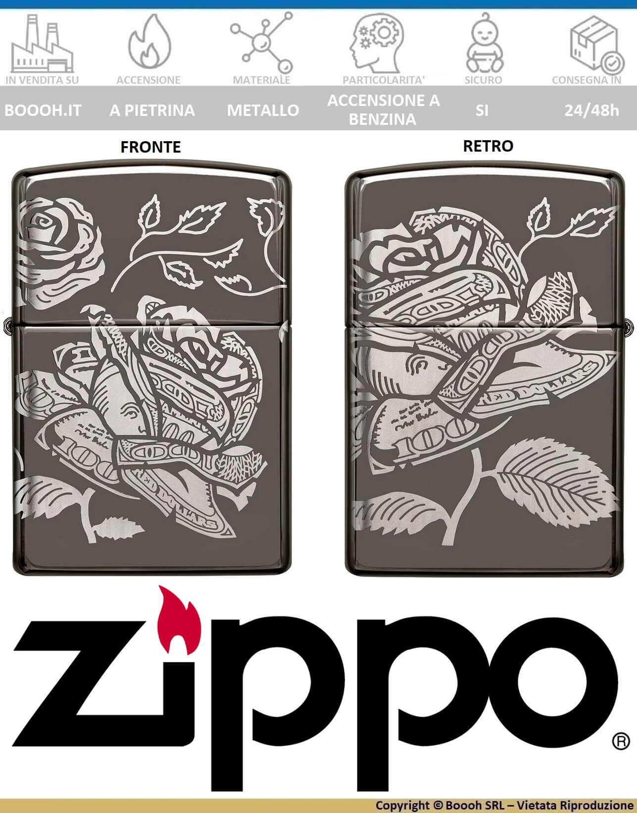 zippo-black-ice-360-currency-design-accendini-benzina-antivento-orginaLE